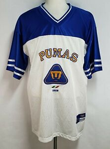Pumas Unam Mens XL Blue White Polyester Mesh Mexico Sewn Soccer Jersey