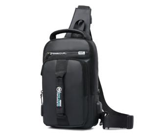 Men's Crossbody Shoulder Chest Bag Sling Messenger Backpack Anti-Theft Usb Port