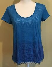 Free People Short Sleeve Bead Shirt Blue  Trimmed Patterned Hippie Boho Small