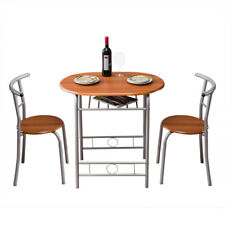 3pcs Set Dinner Table Desk& 2 Pvc Chairs Metal Home Kitchen Breakfast Furniture