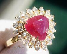 Ruby Gold Ring Diamond Natural NO HEAT 14K GIA Certified 4.08CTW RETAIL $14100
