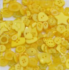 100 Bulk Light yellow Buttons  Assort Shapes Sizes 8~30mm Christmas
