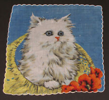 Vtg Handkerchief Cat Feline Kitten Long Hair Blue Eyes Bright Children'S Hankie