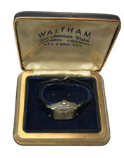 WALTHAM 17 JEWEL VINTAGE WHITE GOLD FILLED MENS WATCH SWISS WIND UP WORKS BOXED