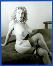 Mature Busty Blonde Woman 1950 Vintage Photo Stockings Leggy Older Female Q3005