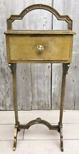 Antique Art Nouveau Brass Plate Handled 1-Drawer Smoking Stand Side Table 1920