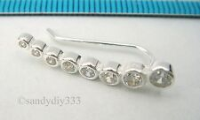 1x BRIGHT STERLING SILVER DOT CZ CUFF CLIMBER HOOK EARRINGS for RIGHT EAR #2589