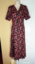 JAMIE BROOKE SHORT SLEEVE BLACK PINK RED FLORAL SHIRT DRESS - SZ MEDIUM