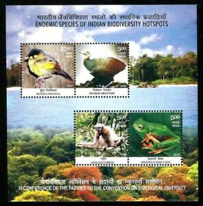 INDIA 2012 Biodiversity Fauna Animals Birds Frog Monkey Nature Miniature sheet