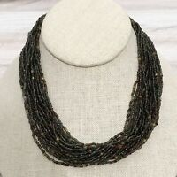 Beaded Necklace Multi-Strand Seed Glass Barrel Clasp Vintage Retro Statement