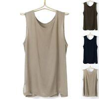 Men Summer Casual Linen Vest Tank Loose Solid Sleeveless Tops Tee T Shirt Blouse