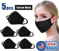 5 Pack Face Mask Three Layer Black Washable Reusable Cotton Cloth Ships From USA
