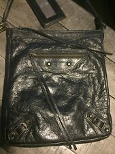 Authentic Balenciaga Black Leather Cross-body Messenger Bag