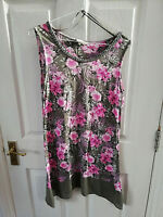 SPIRIT AT M&CO WOMENS TUNIC PINK GREY FLORAL BLOUSE TOP SIZE 10 SLEEVELESS BEADS
