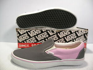 VANS CLASSIC SLIP-ON CANVAS SPORTS TRAINERS MEN SHOES GREY/PINK SIZE 11.5 NEW