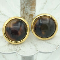 NAPIER vintage round faux tortoise shell post earrings - signed gold-tone studs