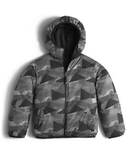 New Boys The North Face Youth Reversible Perrito Jacket Black Gray Size XS
