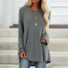 Womens Long Sleeve Sweatshirts Casual Round Neck Oversized Pullover Tunic Tops