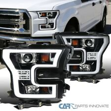 For 15-17 Ford F150 Pickup Pearl Black LED Rim Projector Headlights Head Lamps