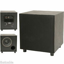 "Quality 8"" 200W Active Sub/Subwoofer Bass Cabinet – Home Cinema Hi-Fi Stereo Amp"