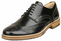 Mens New Black Leather Lace Up Formal Brogue Shoes Size 6 7 8 9 10 11 12