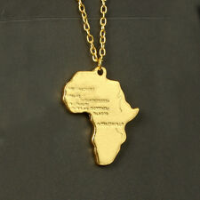 1pc Africa Map Yellow Gold Plated African Country Pendant Chain Necklace Jewelry