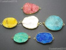 Natural Druzy Quartz Agate Bracelet Connector Charm Pendant Healing Beads Gold