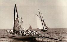 """Racing Yacht """" Columbia """"  America's Cup 1899 Schooner Ship Broken Mast Postcard"""