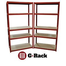 2 Bay of Heavy Duty 180x90x45cm Red Garage Shed Shelving Racking Storage Units
