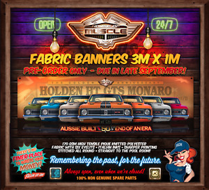 IN STOCK! LIMITED NUMBERS -  HOLDEN HT MONARO GTS 50 YEARS 3mx1m  FABRIC BANNER
