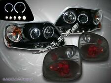 01-03 FORD F150 FLARESIDE HALO LED BLK PROJECTOR HEADLIGHTS + SMOKE TAIL LIGHTS