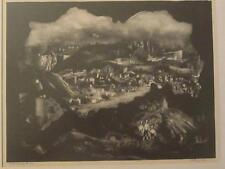 "MARTIN JACKSON DARK EERIE CITY LANDSCAPE LITHOGRAPH "" REFLECTED YESTERDAY"""