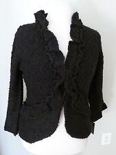 Cynthia Rowley Black Wool Blend Tulip Cardigan Ruffle Sweater Large NWT