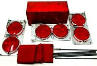 Vintage Collectible Anthes 3 Reflector Flares 3 Flags w/ Holders Metal Box Set