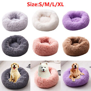 Foldable Round Cat Warm Sleeping Bed Portable Soft Plush Pet Kennel Coral Nest