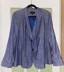 Talbots Linen Blazer 18w Light Blue Lined Two Button Spring Summer Jacket