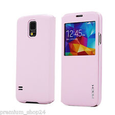 ROCK UNI PREMIUM BOOK CASE Cell Phone CASE For Samsung Galaxy S5 G900 Pink Pink