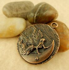 Antiqued Copper Fairy on moon pendant