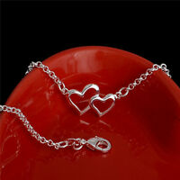 Jewelry 925 Silver Crystal Chain Bangle Cuff Charm Bracelet  Heart Girl Women