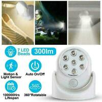 7 LED Light Wireless Motion Activated Detector Auto Battery H7I3 Sensor Pow N0M2
