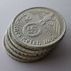 German 2 Reichsmark Silver Coins Lot of 5 coins WW2