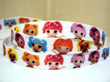 "1 metre x 3/8"" Lalaloopsy Dolls pink orange  blue  GROSGRAIN RIBBON BOW CLIPS"