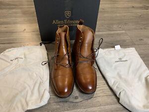 New Allen Edmonds First Avenue Cap-Toe Tan Pebble Grain Boots Men's Size 13D