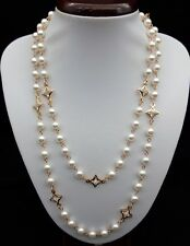 115 cm Imitation Pearl & Clear Crystal Glass Gold Plated Long Necklace