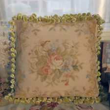 1.5' Chic Shabby Antique Pastel Color Hand Woven Authentic Rose Aubusson Pillow