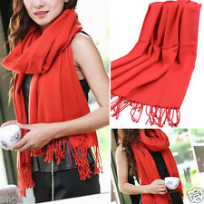 Red Knit Women's Winter Long Scarf Wrap Blanket Oversized Shawl Solid Color OS