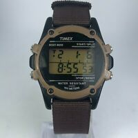 Vintage Timex Mens Brown Band Alarm Timer Wrist Watch Multifunction Vintage