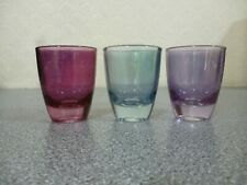 5 mixed Whiskey / Shot Glasses 6cm Tall.  (3 Coloured, 2 Numbered)