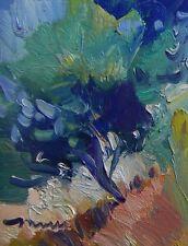 JOSE TRUJILLO Oil Painting Impressionist ORIGINAL Canvas 8x10 Tree Hill Blue COA
