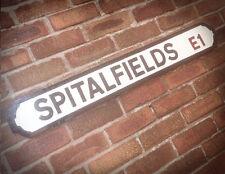 Spitalfields Old Wood London vintage Street Sign Market Brick Lane Road Sign